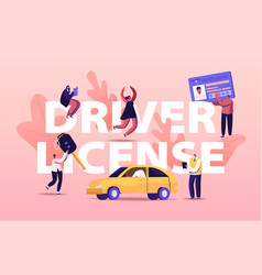 Driver license concept people studying in school vector