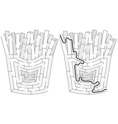 Easy french fries maze vector