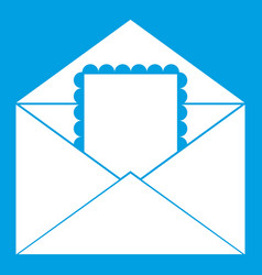 Envelope with card icon white vector