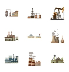 Factory icons set cartoon style vector
