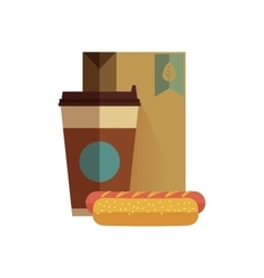Fast food lunch in flat design vector image