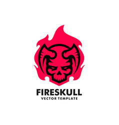 fire skull concept design template vector image