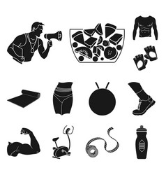Fitness and attributes black icons in set vector