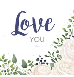 floral card design with watercolor white flowers vector image