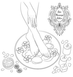 Foot bath line art vector