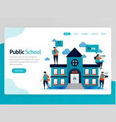 for education landing page public school vector image