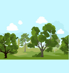 Forest landscape with different green trees and vector