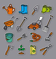 garden tools stickers vector image