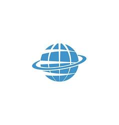 Globe mockup logo blue symbol of Earth internet or vector