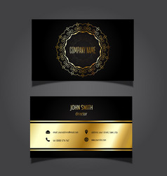 Gold and black business card 0505 vector
