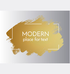 gold paint stroke with border frame dirty vector image