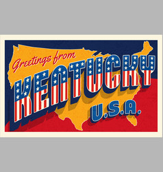 greetings from kentucky usa retro style postcard vector image