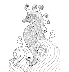 Hand drawn artistic Sea horse in waves for adult vector image