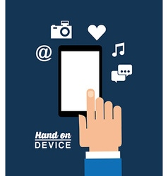 Hand on device design vector