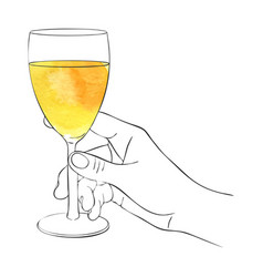 Hand with glass of white wine vector