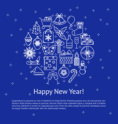 Happy new year poster template with text vector