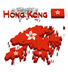 hong kong 3d flag and map vector image