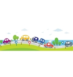 Horizontal seamless background of Cars on the road vector