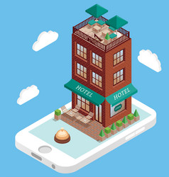 hotel building on mobile phone screen in vector image