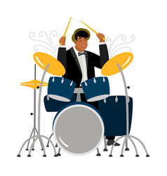 jazz drummer playing isolated on white background vector image