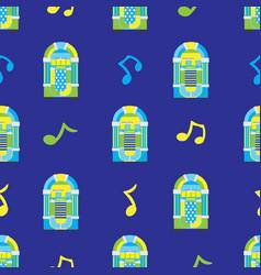 Jukebox seamless pattern on blue background vector