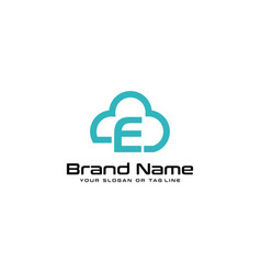 Letter e logo and clouds vector