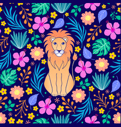 lion and tropical flowers on dark background vector image