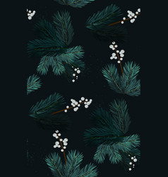 Merry christmas pine tree evergreen branches vector