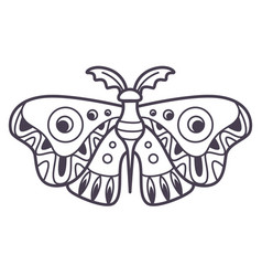 Moth with ornaments on wings magical creature vector