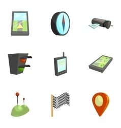 Navigation icons set cartoon style vector