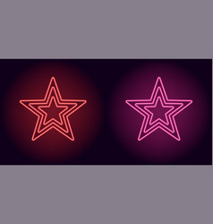 Neon red and pink star vector