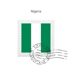 Nigeria Flag Postage Stamp vector