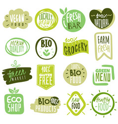 organic food labels natural healthy meal fresh vector image