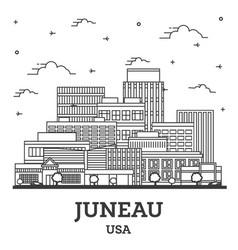 Outline juneau alaska usa city skyline vector