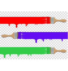 Paint brush tool set isolated on transparent vector