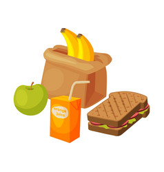 paper bag package with healthy breakfast orange vector image
