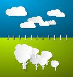 Paper Clouds and Trees on Blue - Green Notebook vector