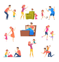 parents and kids children good time in happy vector image