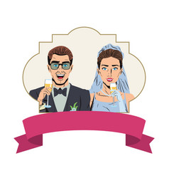 Pop art wedding cartoon vector