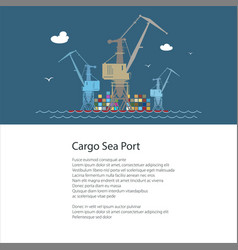 poster with cargo seaport vector image