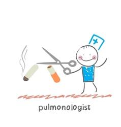Pulmonologist scissor cigarette vector