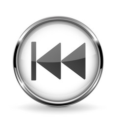 Round 3d button with metal frame rewind icon vector