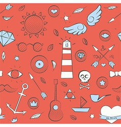 Sea doodle seamless hipster pattern over red vector image