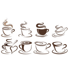set cups coffee collection stylized vector image