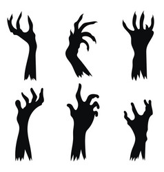 set hand zombies crawling out ground vector image