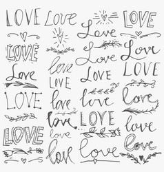 set of hand-written words love lettering vector image
