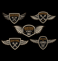 set of vintage winged emblems racing motorcycles vector image