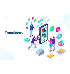 Smartphone phone with online language translator vector