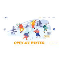 Snowballs battle between friends teams website vector