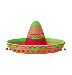 sombrero hat traditional mexican headdress retro vector image